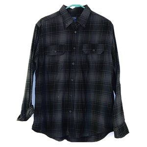 Faded Glory Black Plaid Button Down